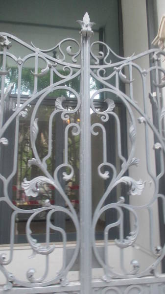 Detail Photograph - Old White Iron Gate In Lisbon by Anamarija Marinovic