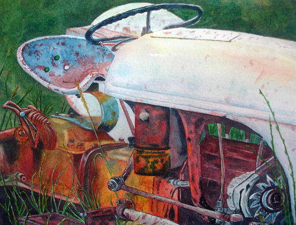 Old White Tractor Out To Pasture Art Print by Rosie Phillips