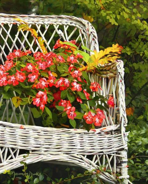 Old Wicker Chair With Flowers Painting By Norman Drake