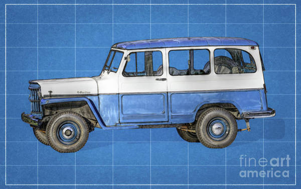 Wagon Wheel Digital Art - Old Willys Jeep Wagon Blueprint by Randy Steele