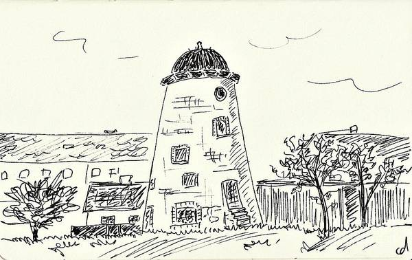Drawing - Old Wind Mill In Coswig by Chani Demuijlder