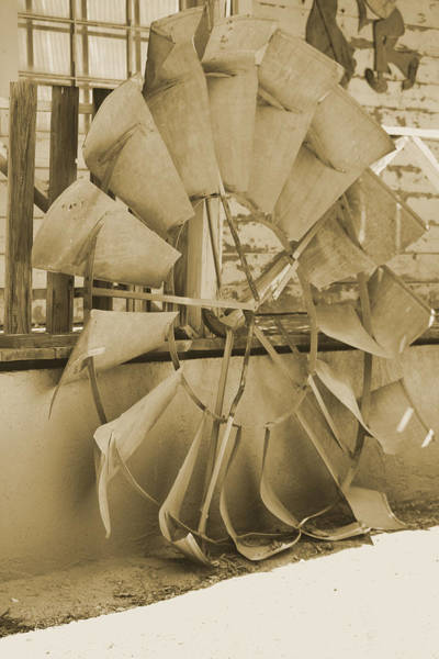 Photograph - Old Windmill Blades In Sepia by Colleen Cornelius
