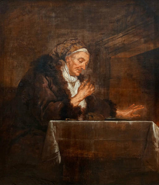 Painting - Old Woman Eating In Front Of The Fireplace by Jean-Francois de Troy