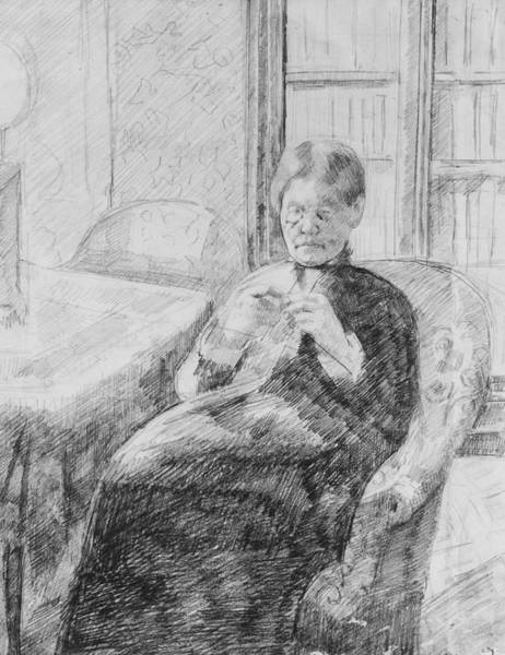 Drawing - Old Woman Knitting by Mary Cassatt