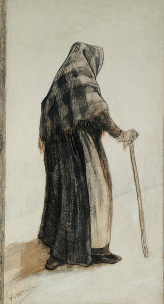 Wall Art - Painting - Old Woman With A Shawl And A Walking Stick, 1882 by Vincent Van Gogh