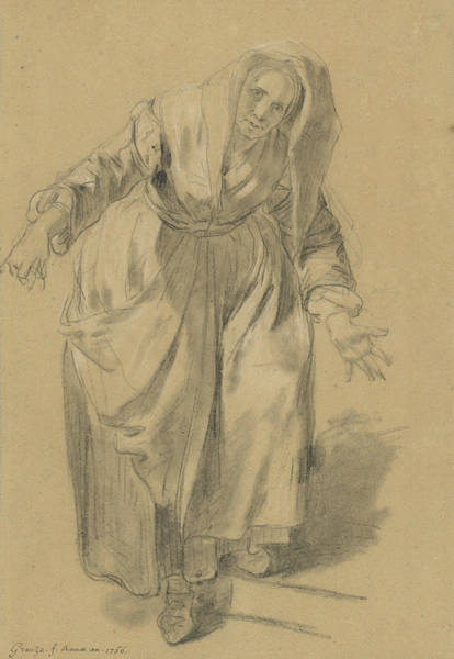 Jeans Drawing - Old Woman With Arms Outstretched by Jean-Baptiste Greuze