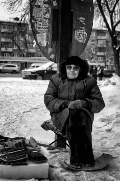 Photograph - Old Women Selling Woollen Socks On The Street Monochrome by John Williams