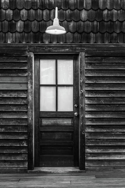 Photograph - Old Wood Door And Light Black And White by Terry DeLuco