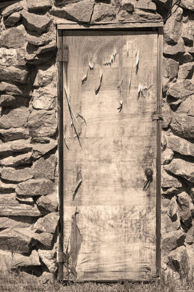 Photograph - Old Wood Door  And Stone - Vertical Sepia Bw by James BO Insogna