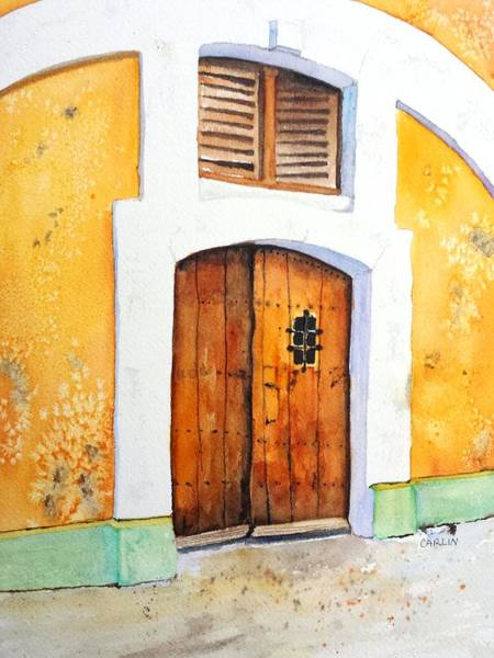 Archway Painting - Old Wood Door Arch And Shutters by Carlin Blahnik CarlinArtWatercolor