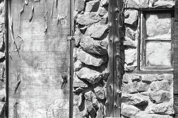 Photograph - Old Wood Door Window And Stone In Black And White by James BO Insogna