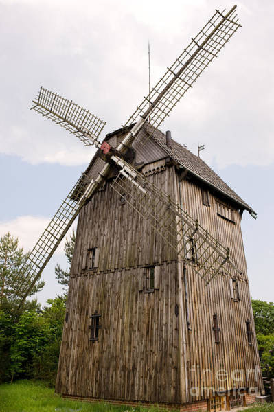 Wall Art - Photograph - old wood windmill with sails in Poland  by Arletta Cwalina