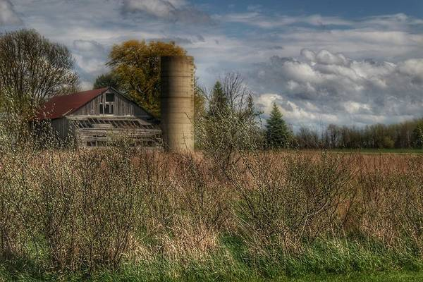 Photograph - 0034 - Old Wooden Barn And Silo by Sheryl Sutter