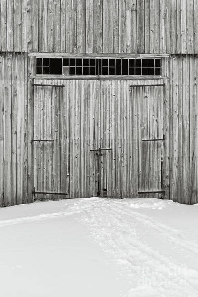 New England Barn Photograph - Old Wooden Barn Doors In The Snow by Edward Fielding
