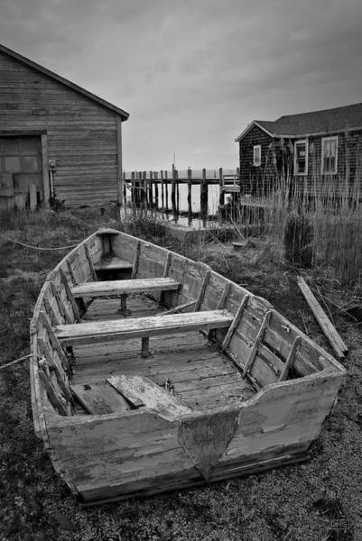 Photograph - Old Wooden Boat Bw by David Gordon