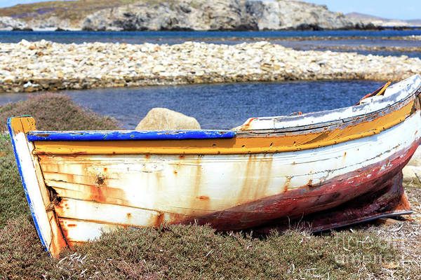 Photograph - Old Wooden Boat On The Island Of Delos by John Rizzuto