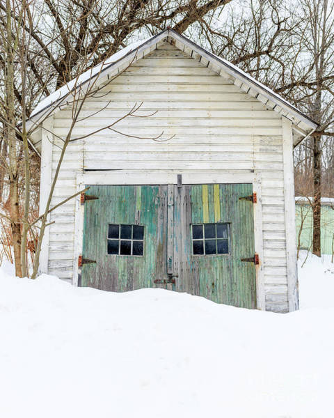 Wall Art - Photograph - Old Wooden Garage In The Snow Woodstock Vermont by Edward Fielding