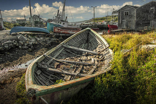 Photograph - Old Wooden Row Boat In The Harbor At Peggy's Cove by Randall Nyhof