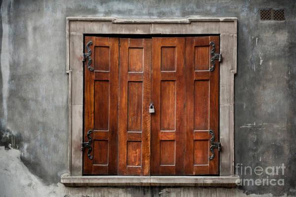 Wall Art - Photograph - Old Wooden Shutters Close Window by Arletta Cwalina