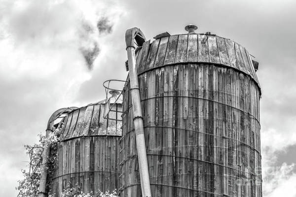 Silo Wall Art - Photograph - Old Wooden Silos Ely Vermont by Edward Fielding