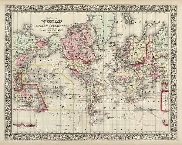 Wall Art - Drawing - Old World Map By Samuel Augustus Mitchell - 1860 by Blue Monocle