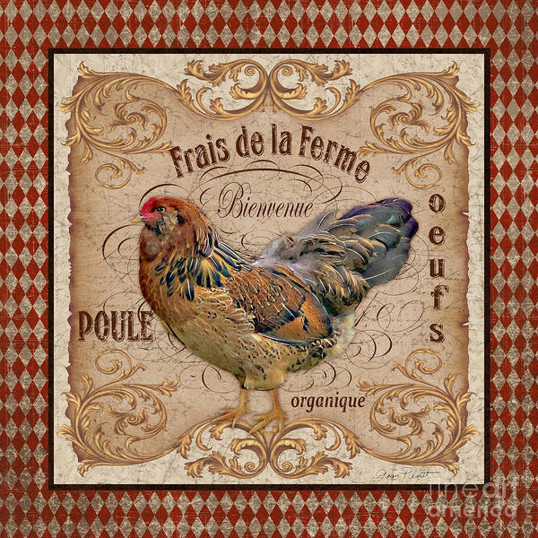 Wall Paper Painting - Old World Poule-jp3088 by Jean Plout
