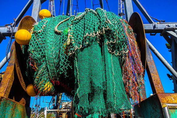 Dry Dock Photograph - Old Worn Fishing Nets by Garry Gay