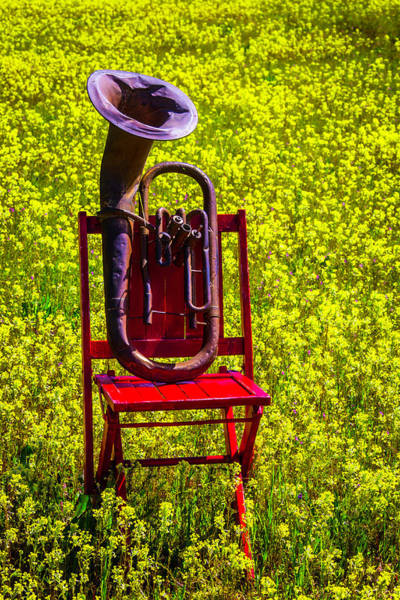 Wall Art - Photograph - Old Worn Tuba On Red Chair by Garry Gay