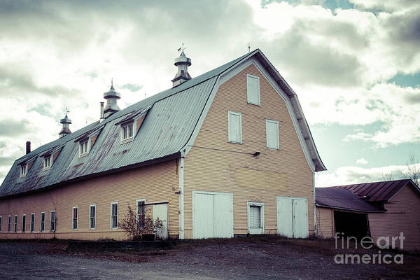 Wall Art - Photograph - Old Yellow Dairy Barn Hardwick Vermont by Edward Fielding