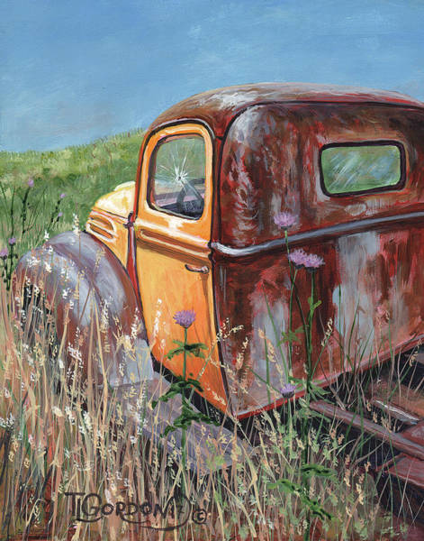 Old Chevy Truck Painting - Old Yellow by Timithy L Gordon