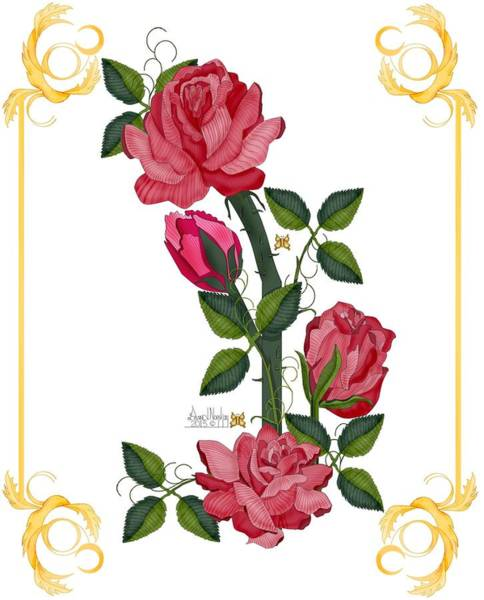 Wall Art - Painting - Olde Rose Pink With Leaves And Tendrils by Anne Norskog