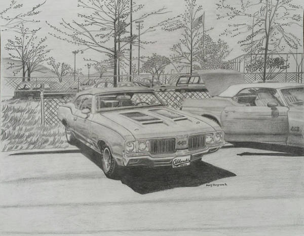 Options Drawing - Oldsmobile 442 Convertibles by Henry Hargrove Jr