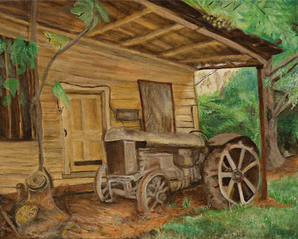 Painting - Oldtime Tractor by Kathy Knopp