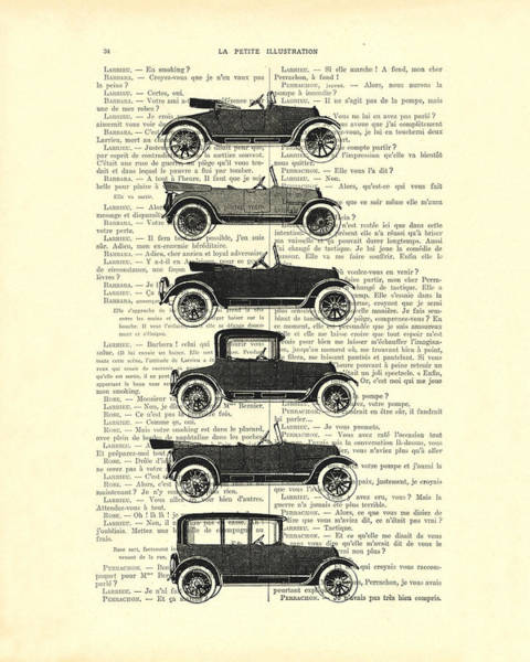 Oldtimer Wall Art - Digital Art - Collection Oldtimers In Black And White Vintage Illustration by Madame Memento