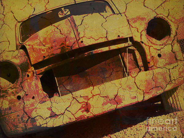 Photograph - Oldtimer-wreck Yellow Craquele by Heiko Koehrer-Wagner