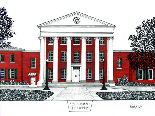 Wall Art - Drawing - Ole Miss by Frederic Kohli
