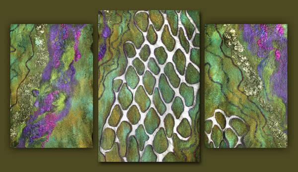 Mixed Media - Olive Garden And Lavender Fields. Triptych by Marina Shkolnik