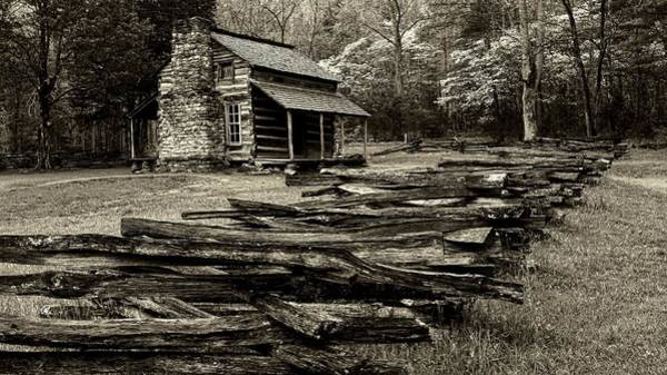 John Oliver Cabin Photograph - Oliver Cabin Among The Dogwood Of The Great Smoky Mountains National Park II In Sepia by Carol Montoya