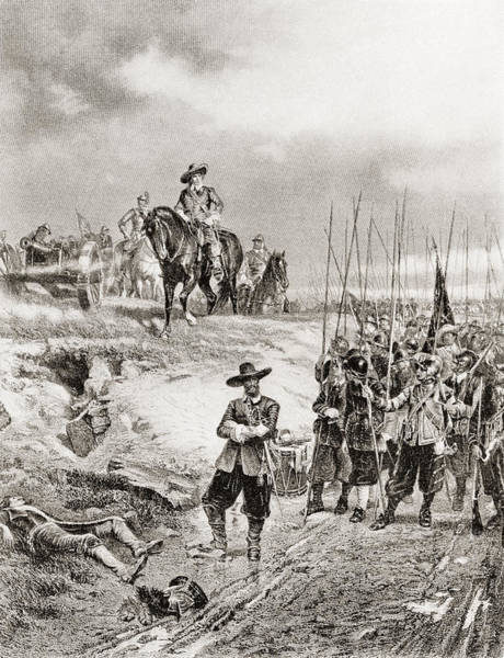 Wall Art - Drawing - Oliver Cromwell At The Battle by Vintage Design Pics