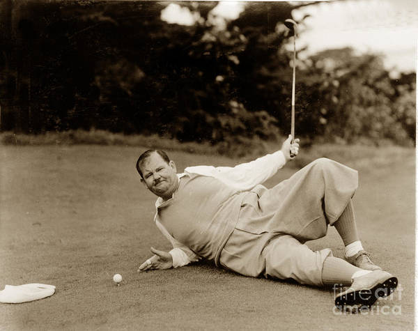Photograph - Oliver Hardy At Pebble Beach 1934 by California Views Archives Mr Pat Hathaway Archives