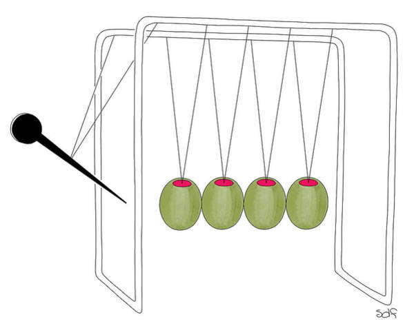 Alcohol Drawing - Olives And Toothpick On Newtons Cradle by Seth Fleishman