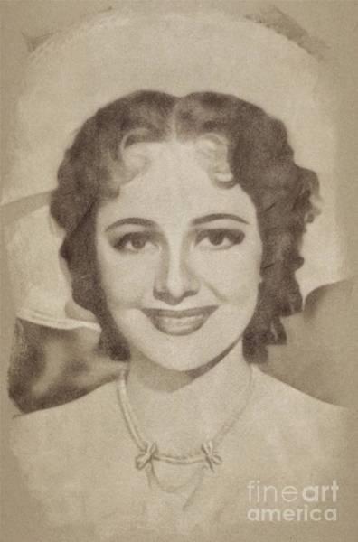 Pinewood Drawing - Olivia De Havilan, Vintage Actress By John Springfield by John Springfield