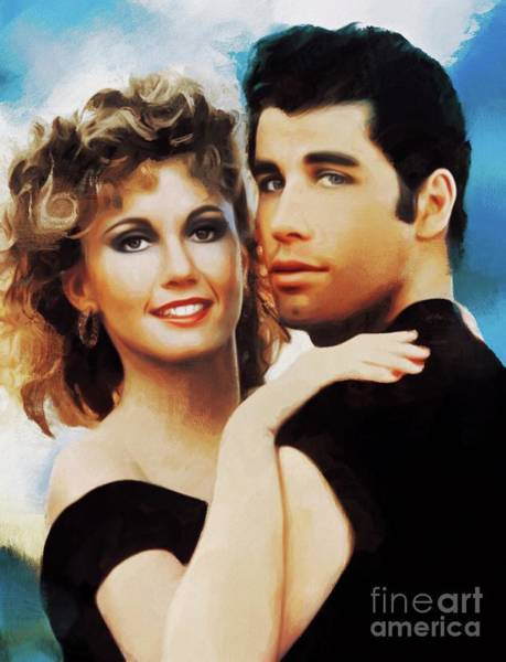 Wall Art - Painting - Olivia Newton-john And John Travolta, Grease by Mary Bassett