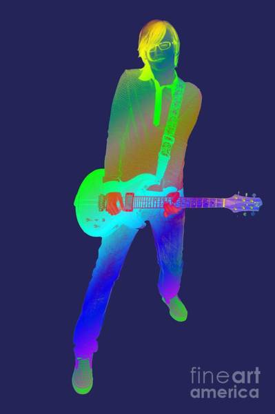 Bouncy Digital Art - olourful guitar player. Music is my passion by Ilan Rosen