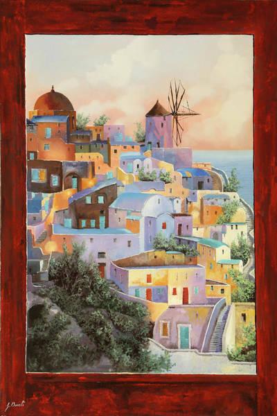 Wind Wall Art - Painting - oltre la finestra il mulino a Santorini by Guido Borelli