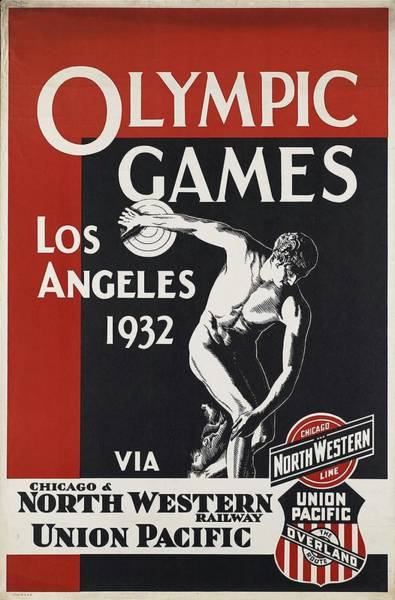 Statue Mixed Media - Olympic Games - Los Angeles 1932 - North Western Railway - Retro Travel Poster - Vintage Poster by Studio Grafiikka