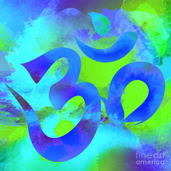 Digital Art - Om Symbol, Green And Blue by Lita Kelley