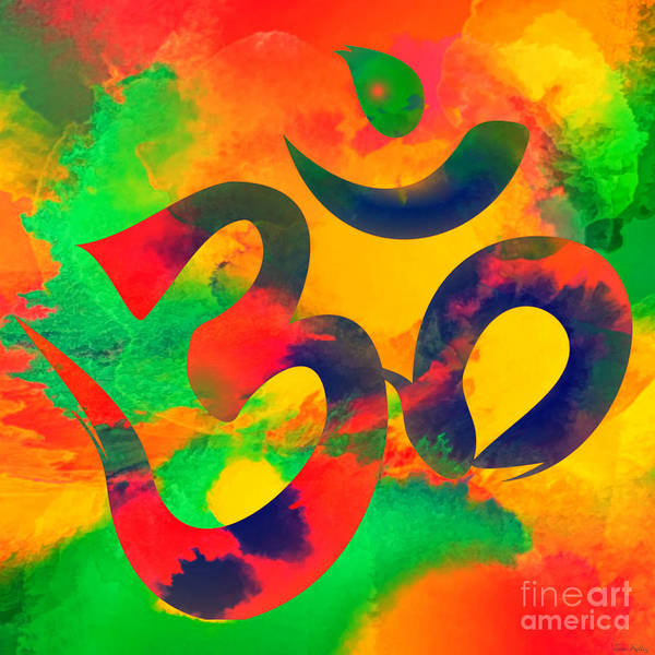 Digital Art - Om Symbol, Green, Yellow And Orange Multicolor by Lita Kelley
