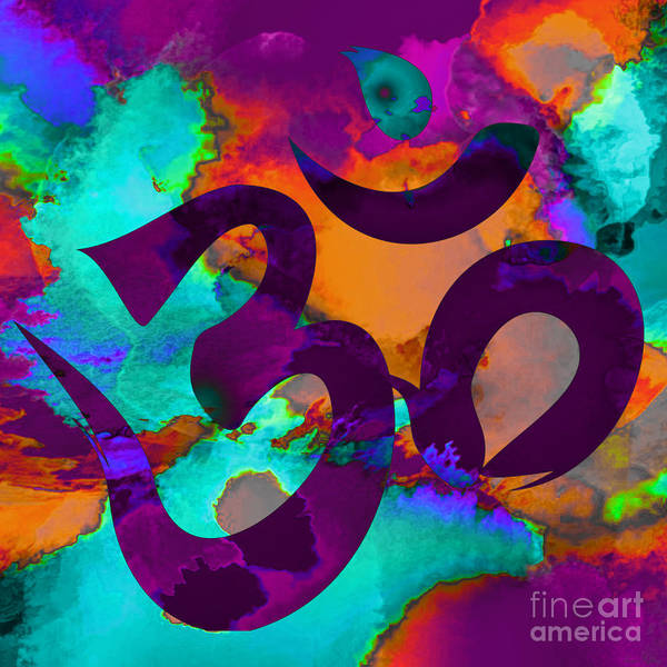 Digital Art - Om Symbol, Purple, Orange And Light Blue by Lita Kelley