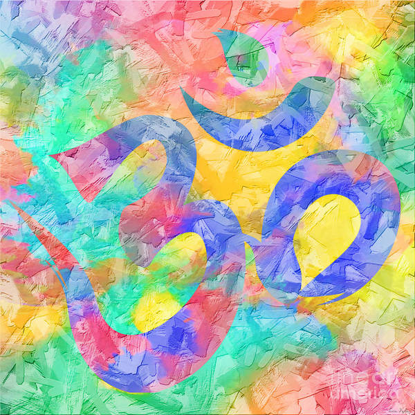 Digital Art - Om Symbol Rainbow Pastels 3d by Lita Kelley